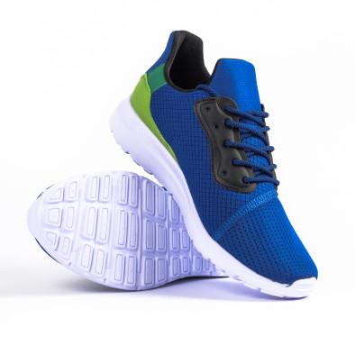Сини мъжки маратонки текстуриран текстил it260520-4 4