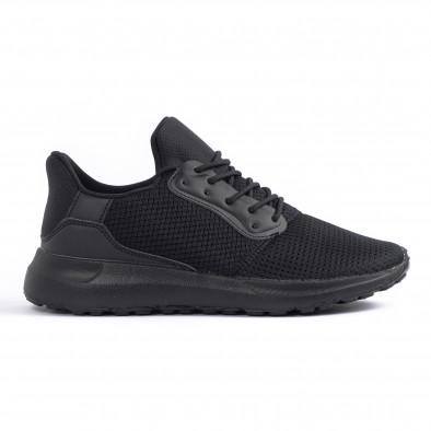 All black мъжки маратонки текстуриран текстил it260520-3 2