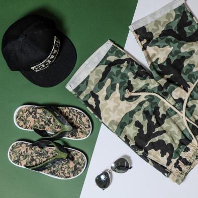 Мъжки трикотажни бермуди зелен камуфлаж  it050620-14 4