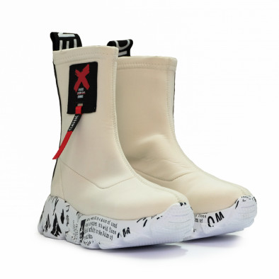 Бели дамски кецове чорап с детайл tr180920-1 3