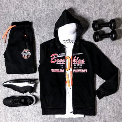 Мъжки черен суичър с цип Brooklyn it300920-44 4