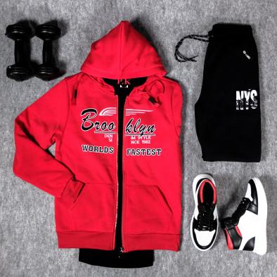 Мъжки червен суичър с цип Brooklyn it300920-43 4