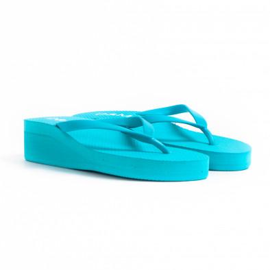 Дамски сини джапанки на платформа it260521-12 3
