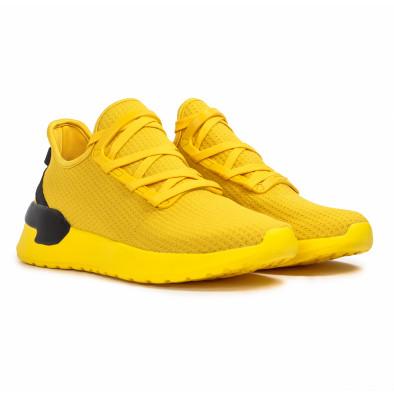 Жълти мъжки маратонки тип чорап Lace detail it260620-12 3