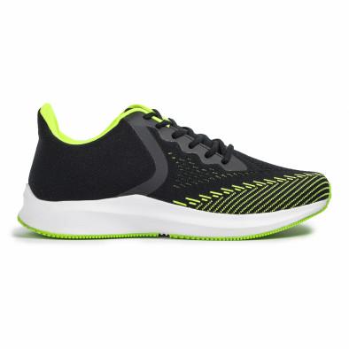 Плетени мъжки маратонки черно с неон it260620-5 2