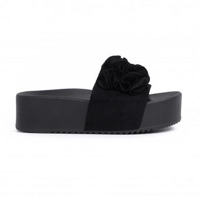Дамски чехли на платформа в черно it030620-11 2