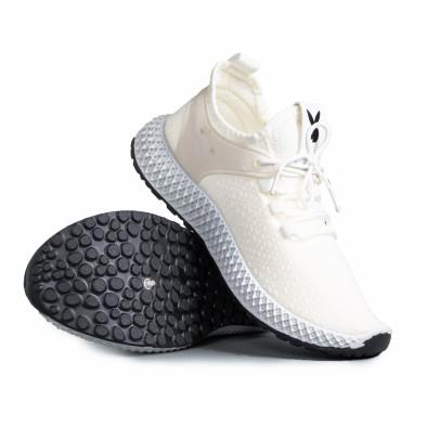 Мъжки бели маратонки от еластичен текстил gr270421-28 4
