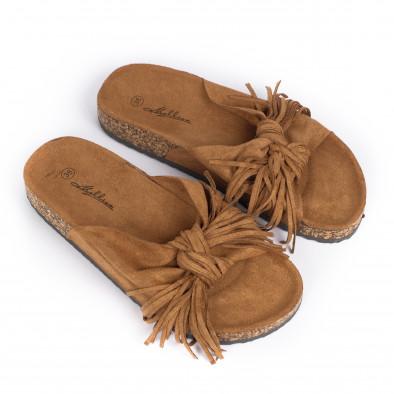 Дамски чехли с ресни цвят камел it030620-22 3