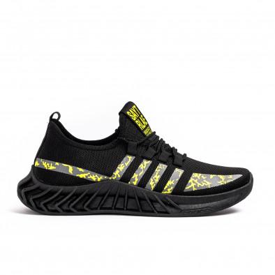 Мъжки текстилни маратонки Black & Yellow gr080621-6 2