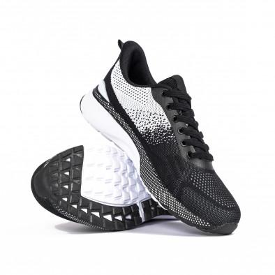 Плетени мъжки маратонки черно и бяло it270320-19 4
