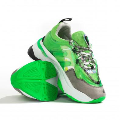 Chunky маратонки с прозрачни детайли зелен неон tr240320-1 4