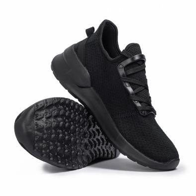 All black мъжки маратонки тип чорап Lace detail it260620-9 4