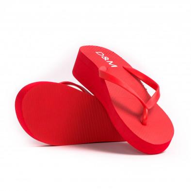 Дамски червени джапанки на платформа it260521-10 4