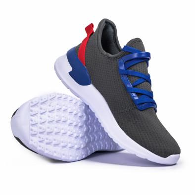 Сиви мъжки маратонки тип чорап Lace detail it260620-10 4