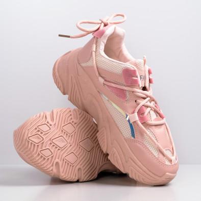 Chunky розови маратонки с декоративни връзки it110221-8 3