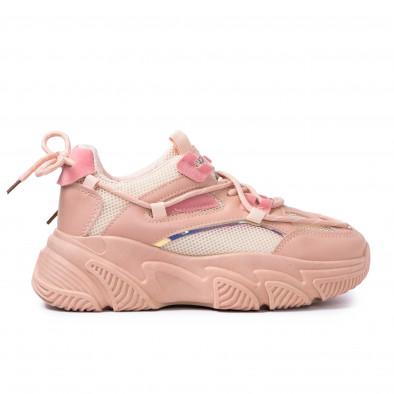 Chunky розови маратонки с декоративни връзки it110221-8 2