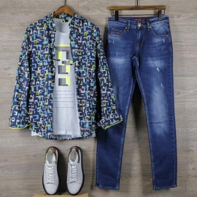 Slim fit мъжка риза геометричен десен tr110320-97 5