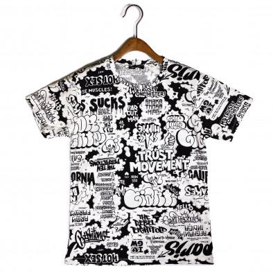 Мъжка черно-бяла тениска с комикси it200421-9 2