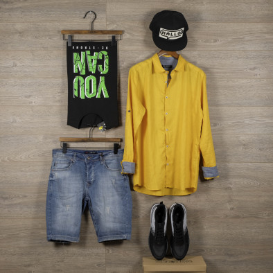 Ленена мъжка риза в жълто tr110320-95 4