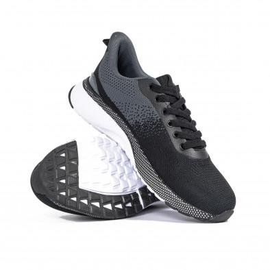 Плетени мъжки маратонки черно и сиво it270320-18 4