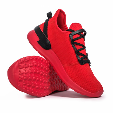 Червени мъжки маратонки тип чорап Lace detail it260620-11 4