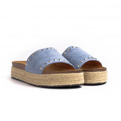 Дамски чехли с капси в синьо it260521-1 3