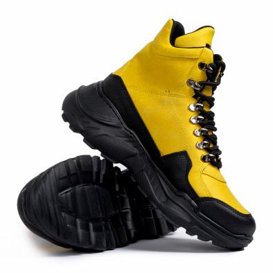 Високи маратонки в жълто трекинг дизайн tr181120-1 4