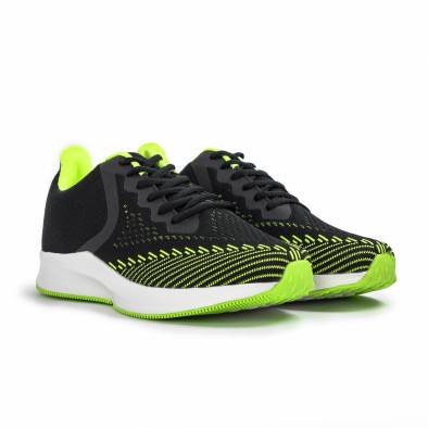 Плетени мъжки маратонки черно с неон it260620-5 3