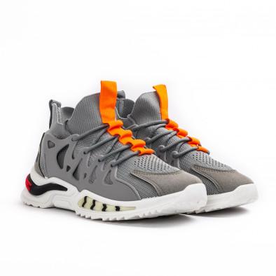 Мъжки маратонки чорап в сиво gr080621-1 3