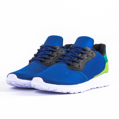 Сини мъжки маратонки текстуриран текстил it260520-4 3