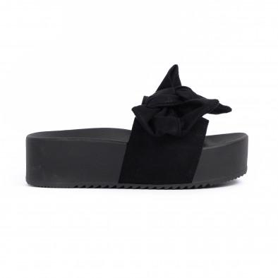 Черни дамски чехли на платформа с панделка it030620-9 2