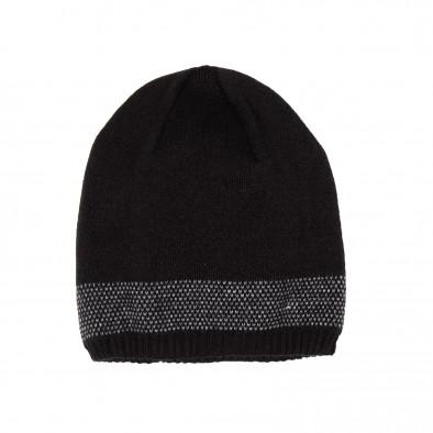 Мъжка черна шапка с кант двойна плетка il161220-8 3