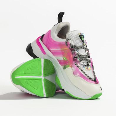 Chunky маратонки с прозрачни детайли розов неон tr240320-2 4