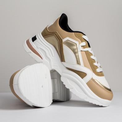 Дамски бежови маратонки Chunky дизайн it280820-20 4