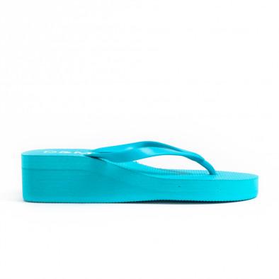 Дамски сини джапанки на платформа it260521-12 2