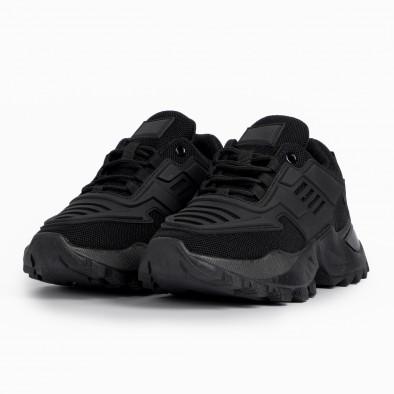Дамски черни маратонки с гумиран детайл it280820-19 3