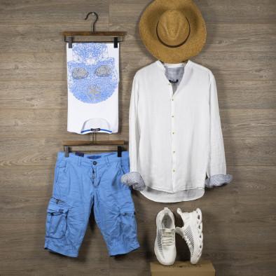 Мъжка бяла риза от лен с яка столче tr110320-90 5