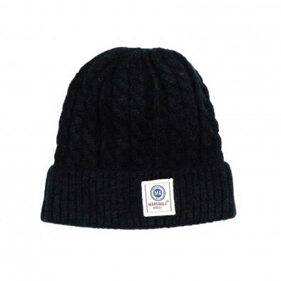 Мъжка черна шапка с плетеници it231220-37 2