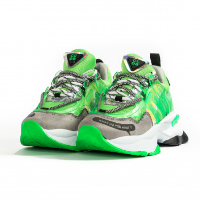 Chunky маратонки с прозрачни детайли зелен неон tr240320-1 3