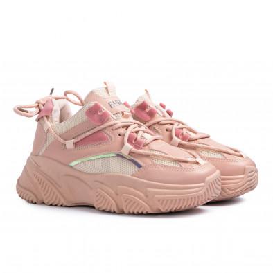 Chunky розови маратонки с декоративни връзки it110221-8 4