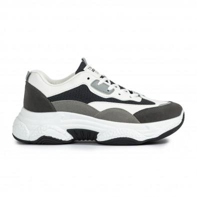 Chunky мъжки маратонки в сиво и бяло it300920-55 2