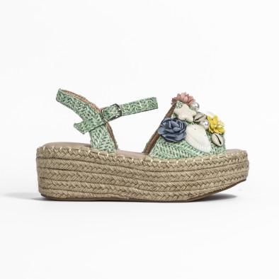 Дамски сандали в зелено с декорация it270320-17 3