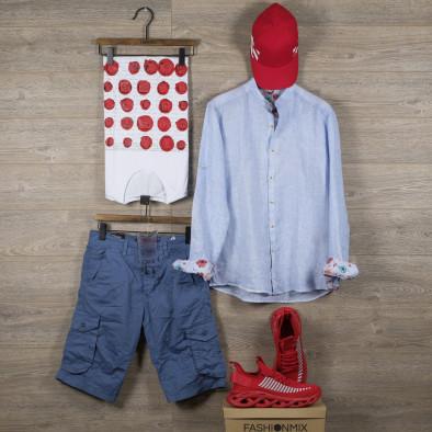 Мъжка синя риза от лен с яка столче tr110320-89 5