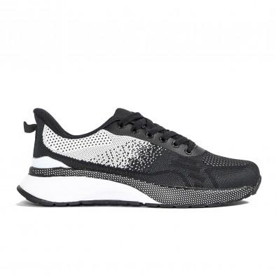 Плетени мъжки маратонки черно и бяло it270320-19 2