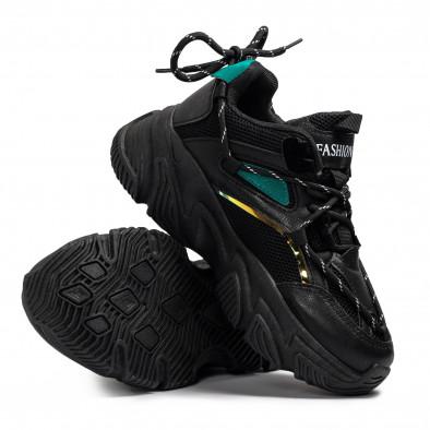 Chunky черни маратонки с декоративни връзки it110221-9 4