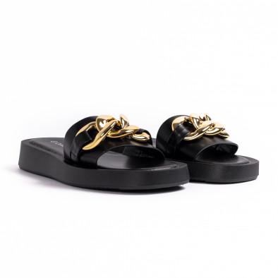 Дамски черни чехли с верига it260521-5 3