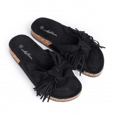 Дамски чехли с ресни в черно it030620-21 3