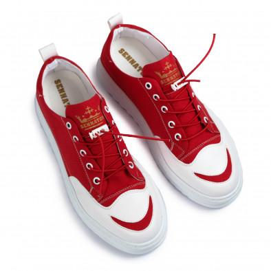 Текстилни червени кецове с кожен детайл tr210721-3 2