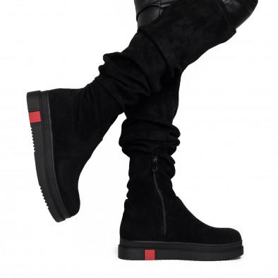 Текстилни дамски чизми в черно it161220-18 4
