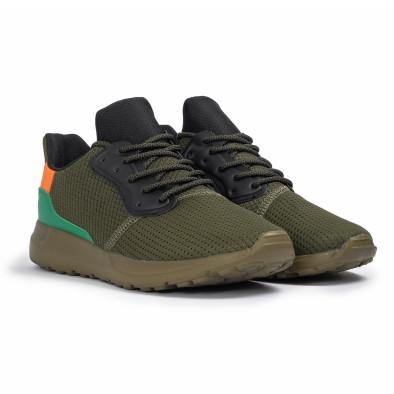 Зелени мъжки маратонки текстуриран текстил it260620-8 3